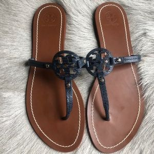 Tory Burch Mini Miller Leather Thong Sandals 10.5